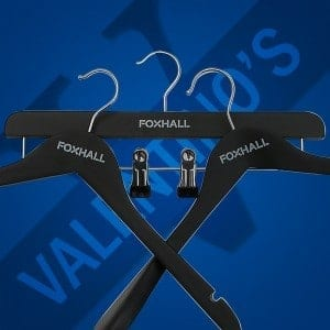 UK coat hangers printed with logo for Foxhall Valentino's Displays Blog