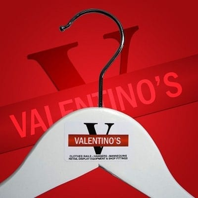 Personalised branded clothes hangers Valentino's Displays Blog