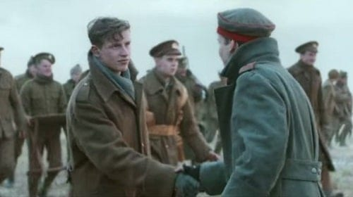 The British and German soldiers meeting in No Man's Land