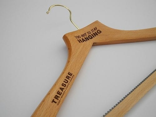 "Laser Etched Wooden Coat Hangers ""Too Hot To Stay Hanging"""