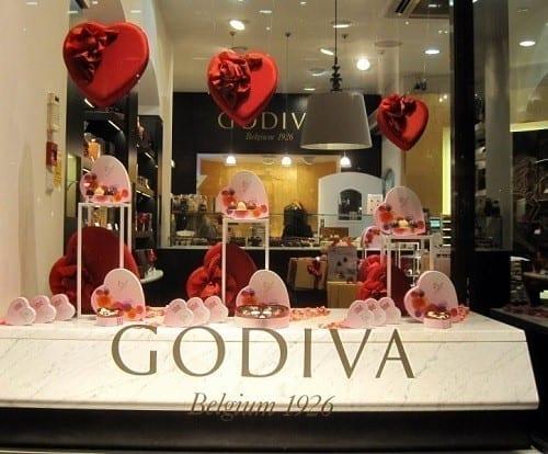 godiva valentine window display
