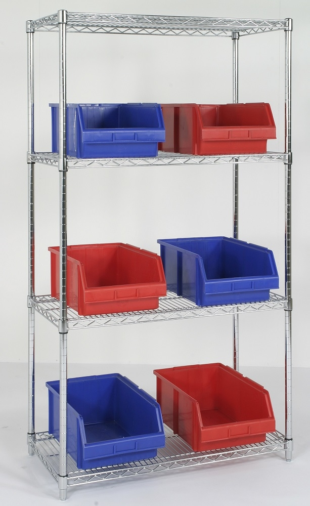 four tier chrome wire shelving unit 24 inch high 4. Black Bedroom Furniture Sets. Home Design Ideas