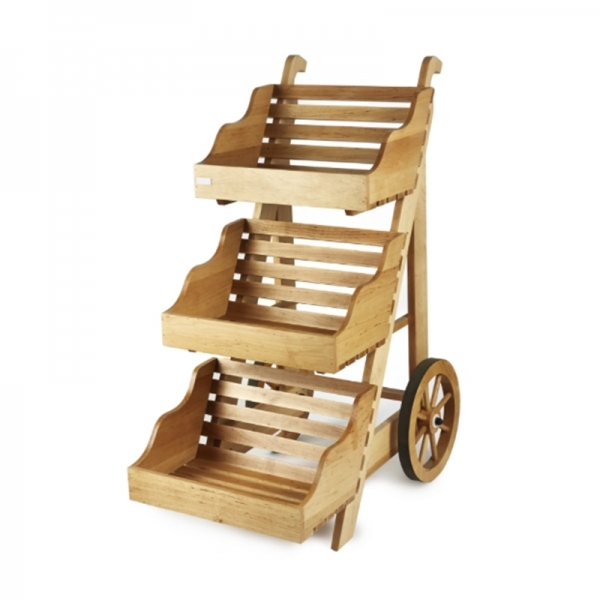 Three Tier Wooden Display Cart